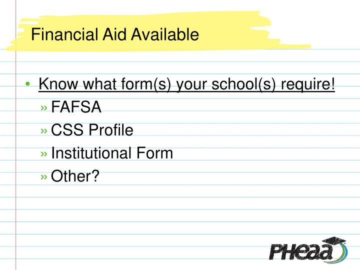 Financial Aid Available