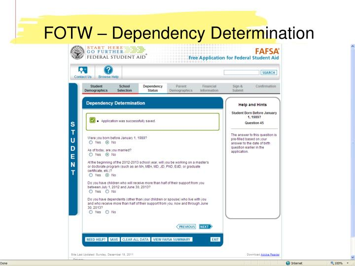 FOTW – Dependency Determination