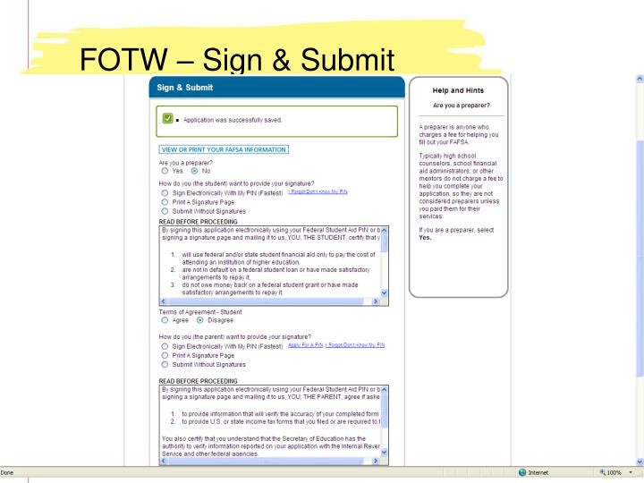 FOTW – Sign & Submit