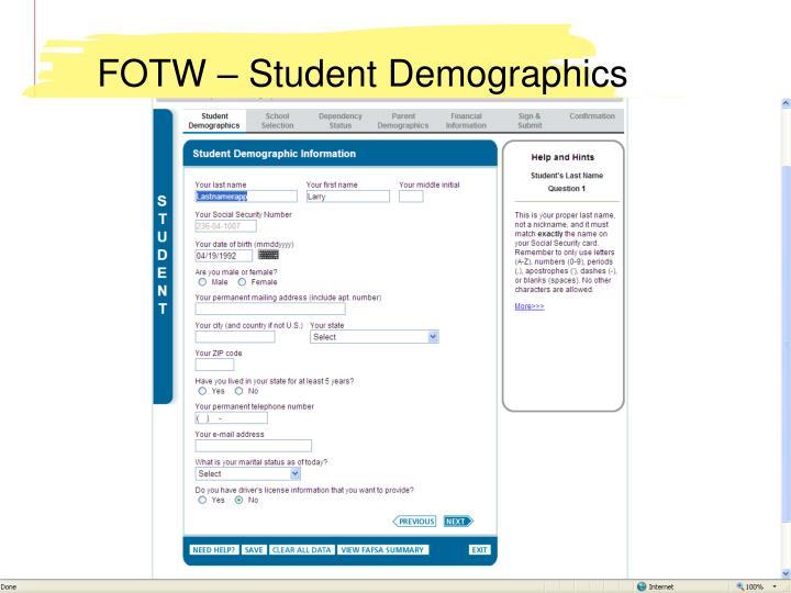 FOTW – Student Demographics