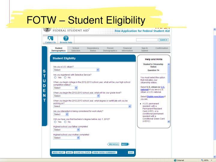 FOTW – Student Eligibility