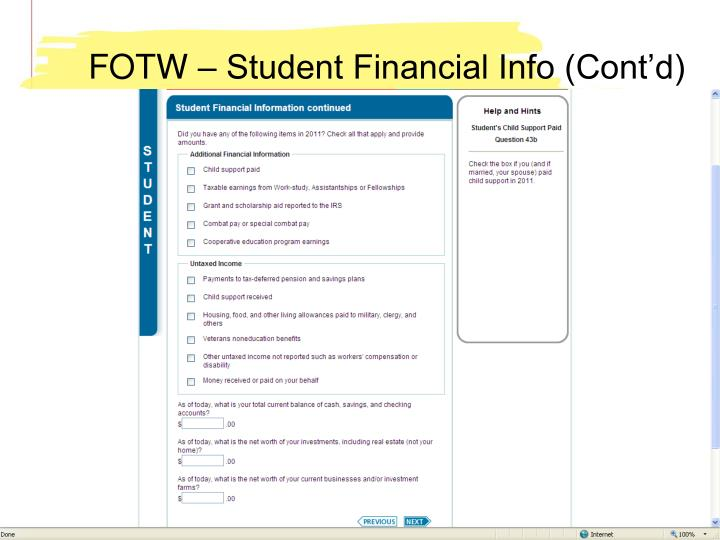 FOTW – Student Financial Info (Cont'd)