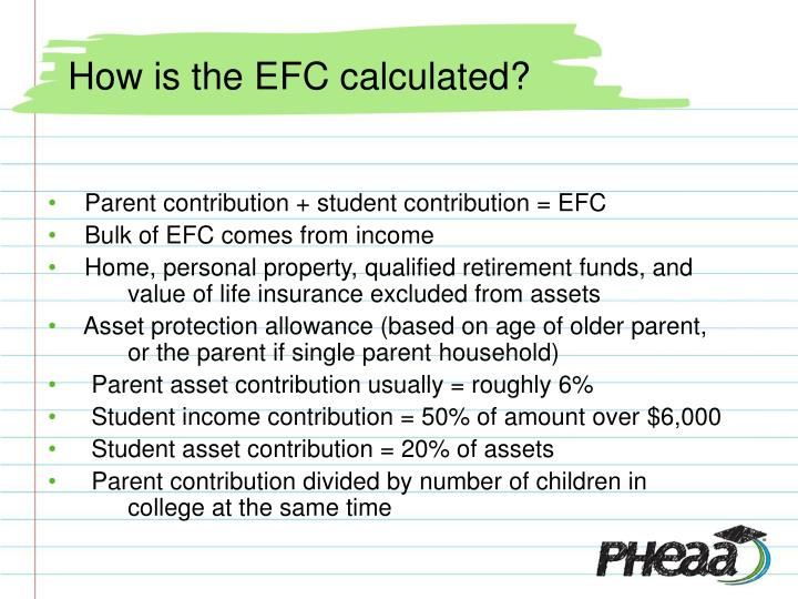 How is the EFC calculated?