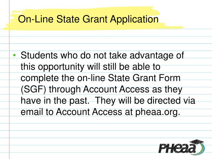 On-Line State Grant Application