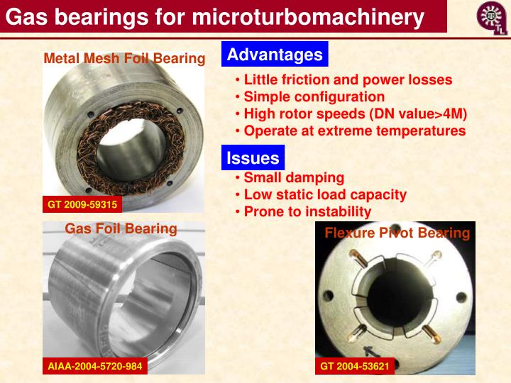 Gas bearings for