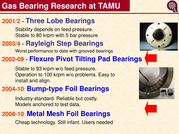 Gas Bearing Research at TAMU