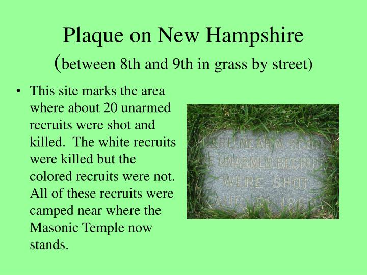 Plaque on New Hampshire