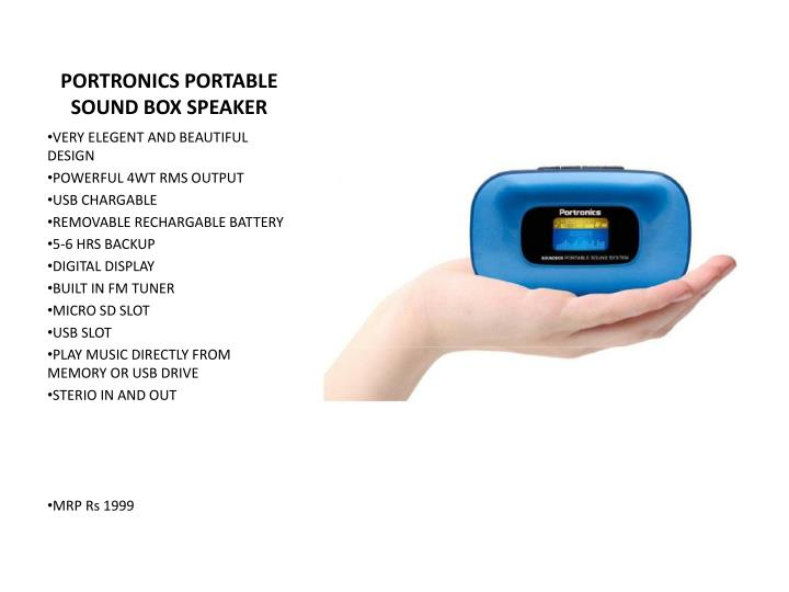 PORTRONICS PORTABLE SOUND BOX SPEAKER