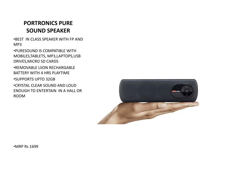 PORTRONICS PURE SOUND SPEAKER