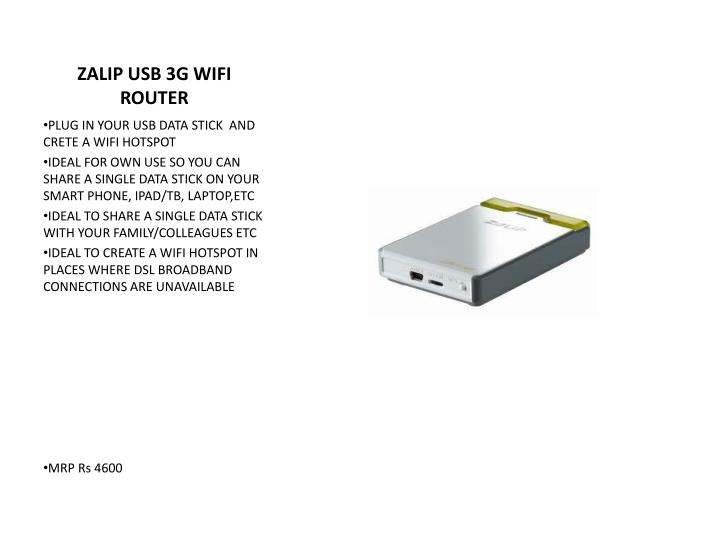 ZALIP USB 3G WIFI ROUTER