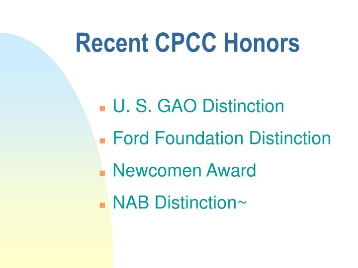 Recent cpcc honors