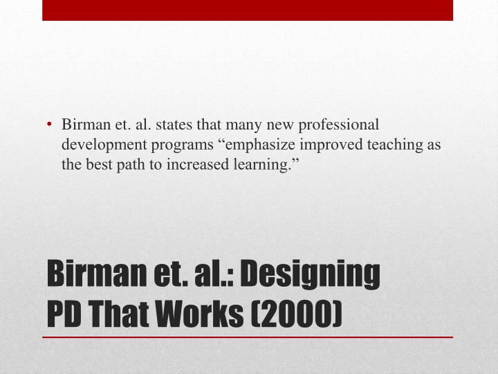 Birman et al designing pd that works 2000
