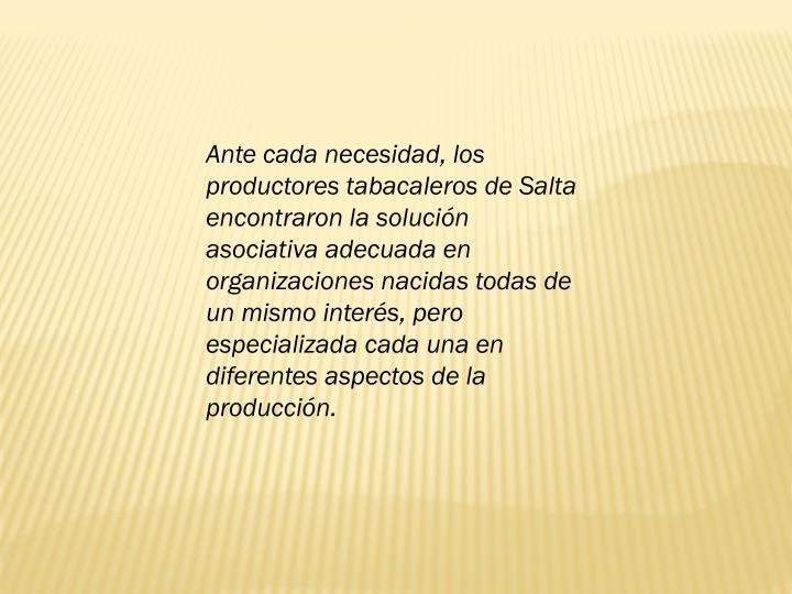 Ante cada necesidad, los productores tabacaleros de Salta encontraron la solucin asociativa adecuada en organizaciones nacidas todas de un mismo inters, pero especializada cada una en diferentes aspectos de la produccin.