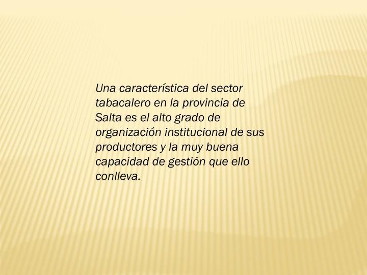 Una caracterstica del sector tabacalero en la provincia de Salta es el alto grado de organizacin institucional de sus productores y la muy buena capacidad de gestin que ello conlleva.
