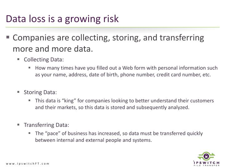 Data loss is a growing risk