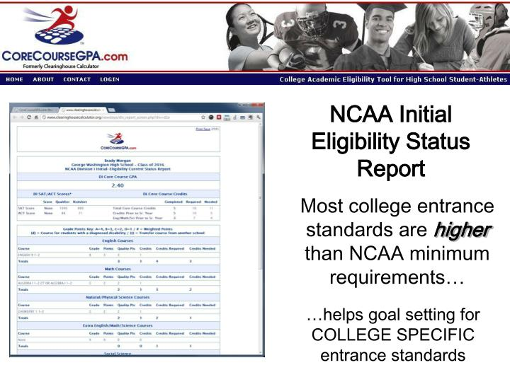 NCAA Initial Eligibility Status Report