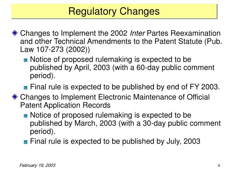 Regulatory Changes
