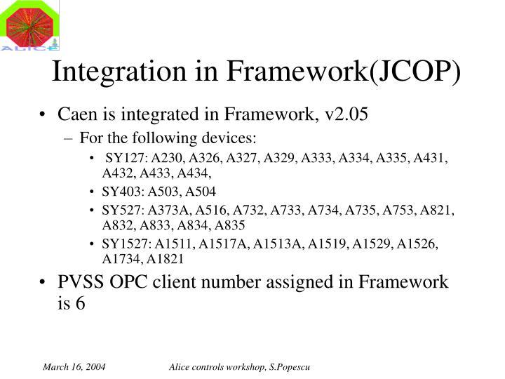 Integration in Framework(JCOP)