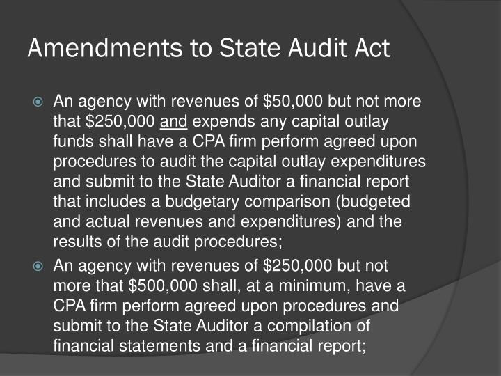 Amendments to State Audit Act