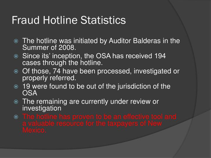 Fraud Hotline Statistics