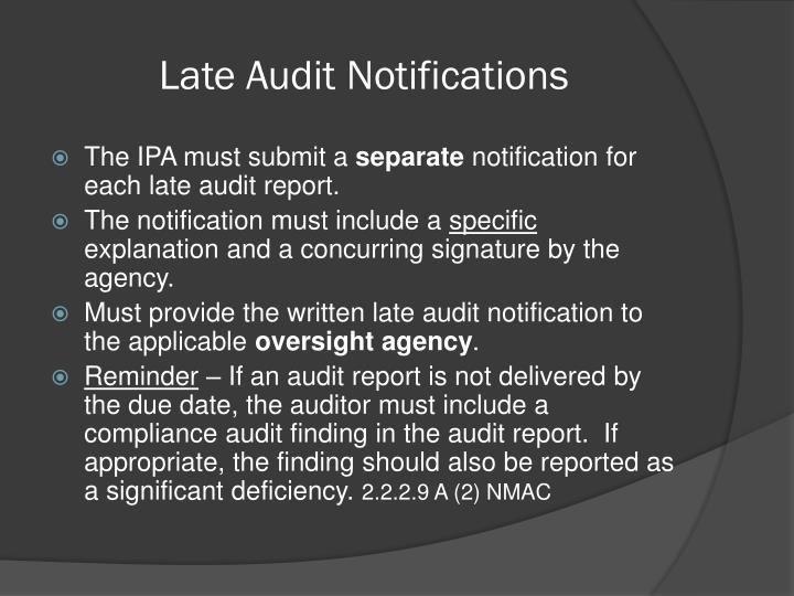 Late Audit Notifications
