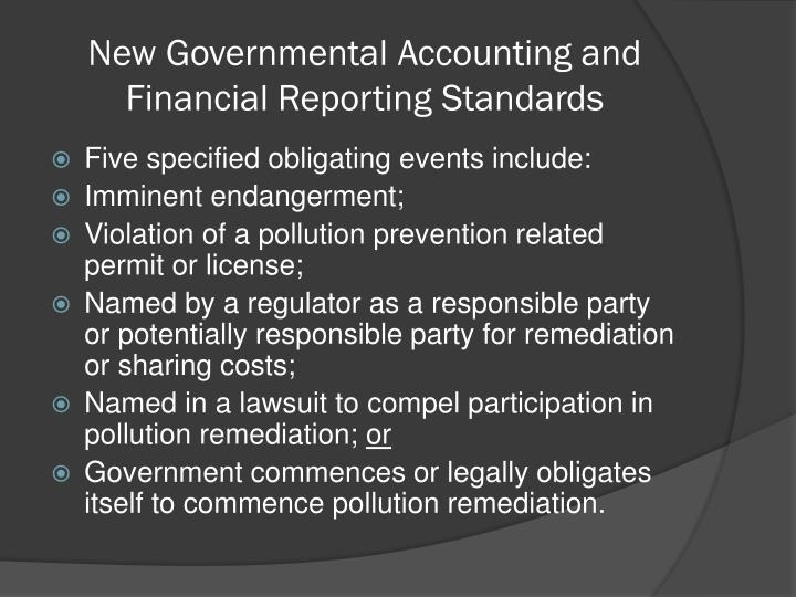 New Governmental Accounting and Financial Reporting Standards