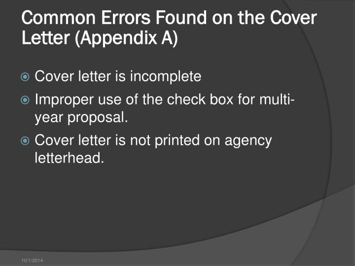Common Errors Found on the Cover Letter (Appendix A)