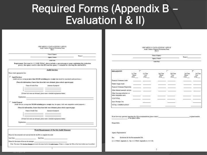 Required Forms (Appendix B – Evaluation I & II)