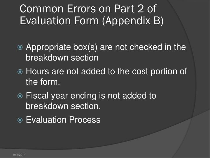 Common Errors on Part 2 of Evaluation Form (Appendix B)