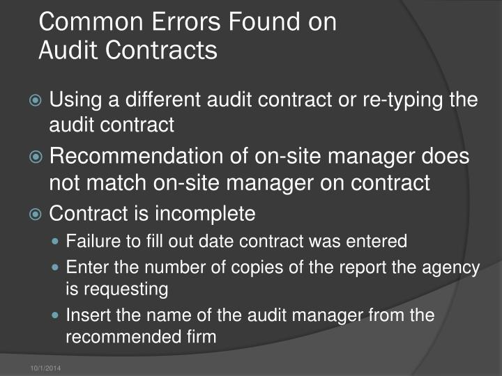 Common Errors Found on