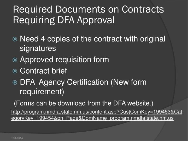 Required Documents on Contracts Requiring DFA Approval