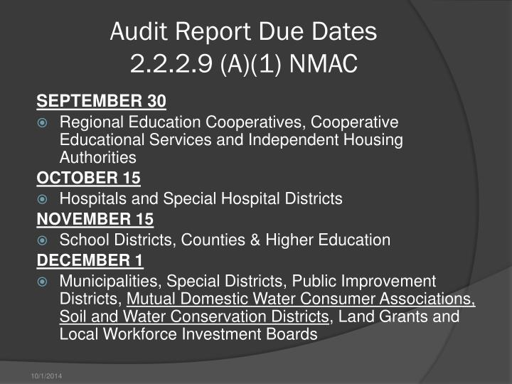 Audit Report Due Dates