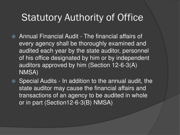 Statutory Authority of Office