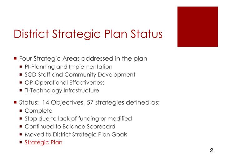 District strategic plan status