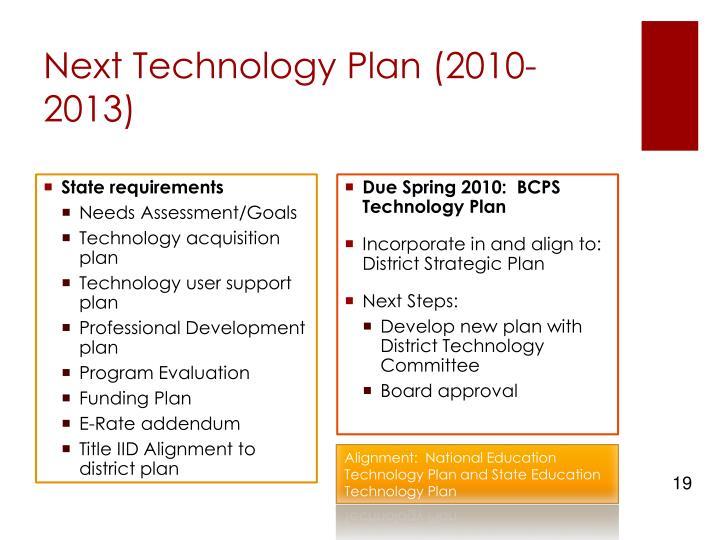 Next Technology Plan (2010-2013)