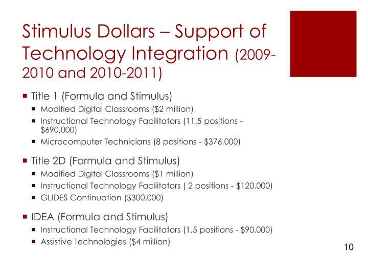 Stimulus Dollars – Support of Technology Integration