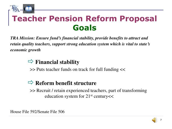 Teacher Pension Reform Proposal
