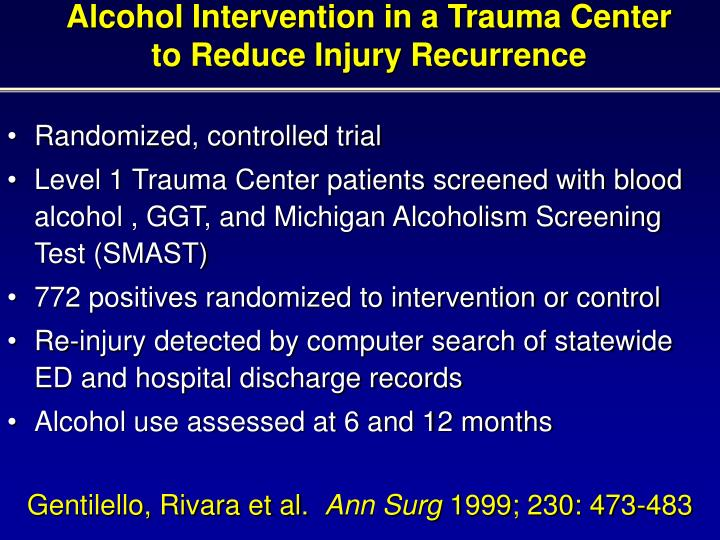 Alcohol Intervention in a Trauma Center