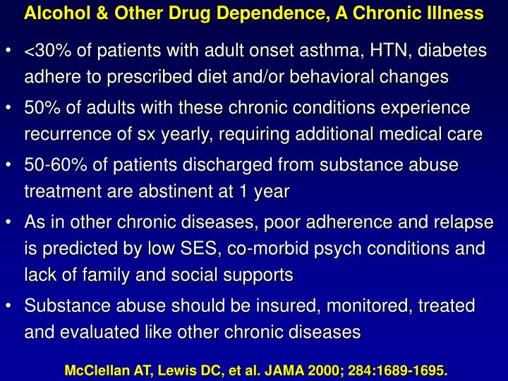 Alcohol & Other Drug Dependence, A Chronic Illness