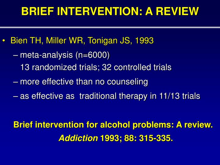 BRIEF INTERVENTION: A REVIEW