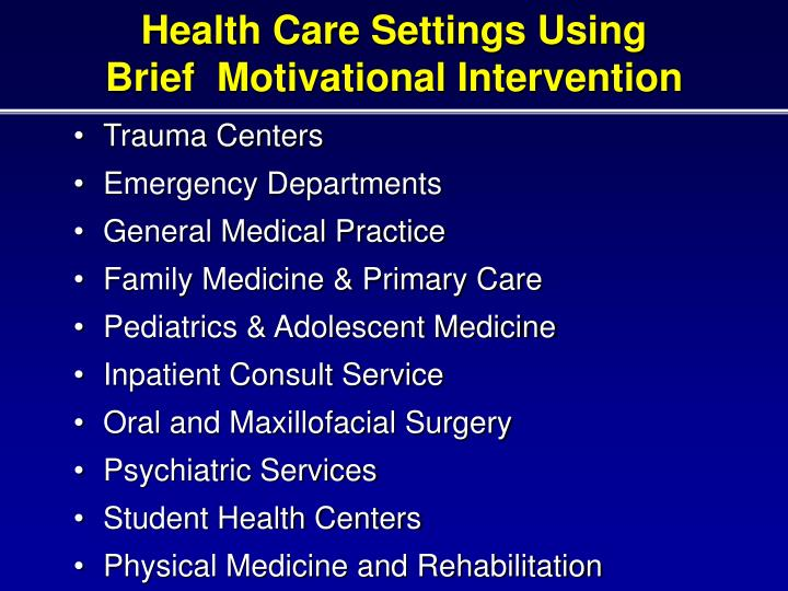 Health Care Settings Using