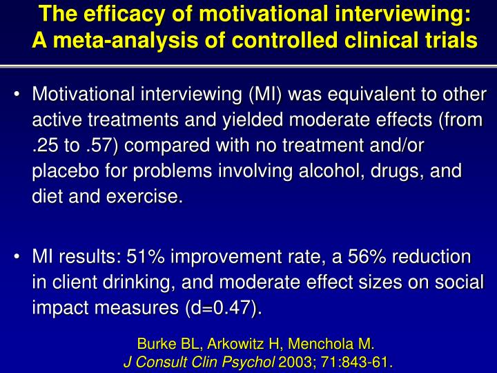The efficacy of motivational interviewing: