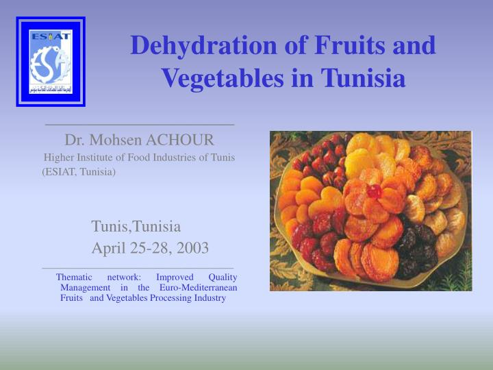 Dehydration of fruits and vegetables in tunisia