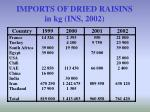 imports of dried raisins in kg ins 2002