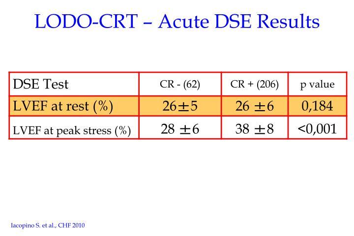 LODO-CRT – Acute DSE Results