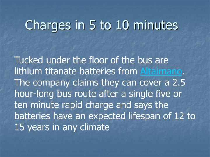 Charges in 5 to 10 minutes