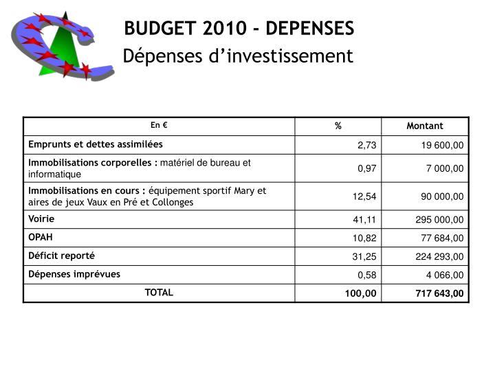 BUDGET 2010 - DEPENSES