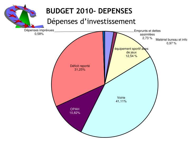 BUDGET 2010– DEPENSES