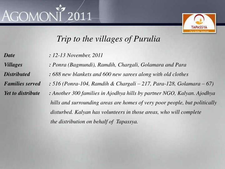 Trip to the villages of Purulia