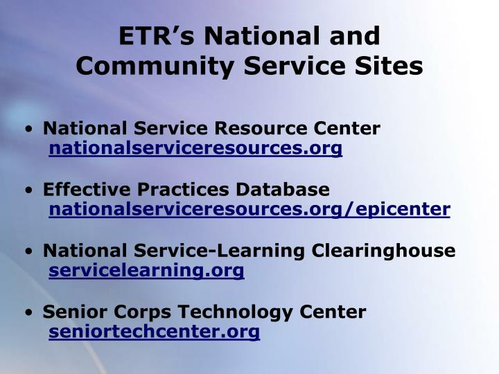 ETR's National and Community Service Sites